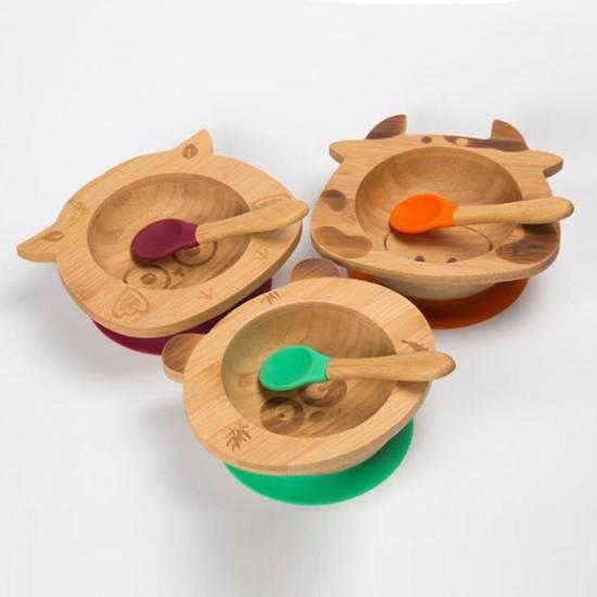 Бамбукова купичка с вакуумно дъно и лъжичка Панда