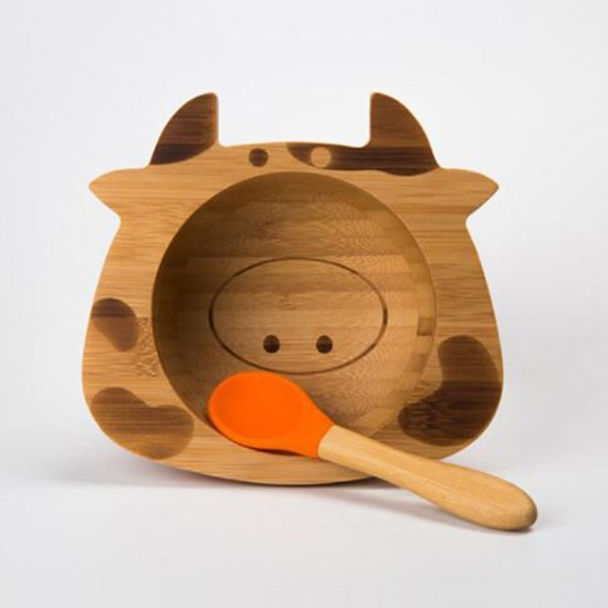 Бамбукова купичка с вакуумно дъно и лъжичка Крава
