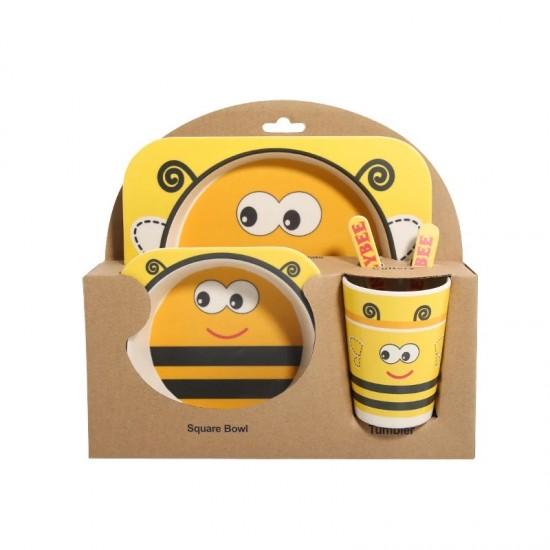 Детски комплект прибори за хранене от бамбук Пчеличка