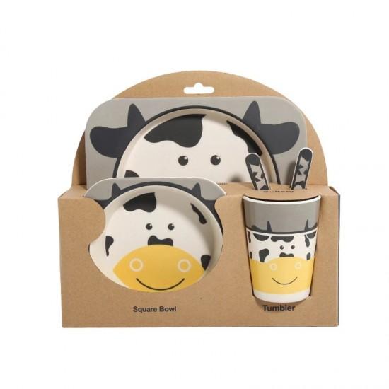 Bamboo fiber children's tableware Cow