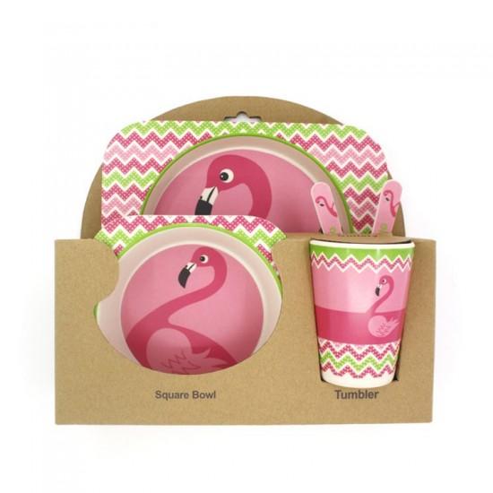 Bamboo fiber children's tableware Flamingo