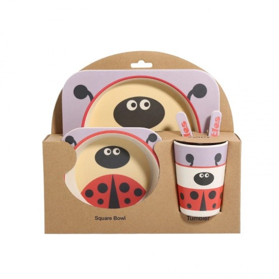 Bamboo fiber children's tableware Ladybug