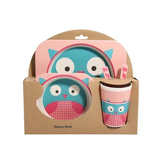 Детски комплект прибори за хранене от бамбук Бухалче