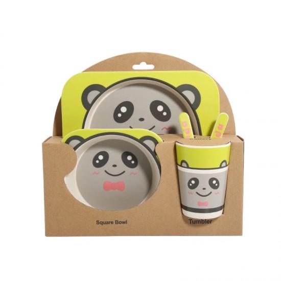 Детски комплект прибори за хранене от бамбук Панда