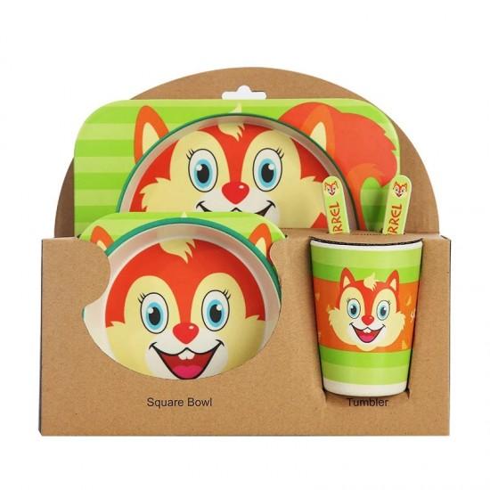 Детски комплект прибори за хранене от бамбук Катеричка