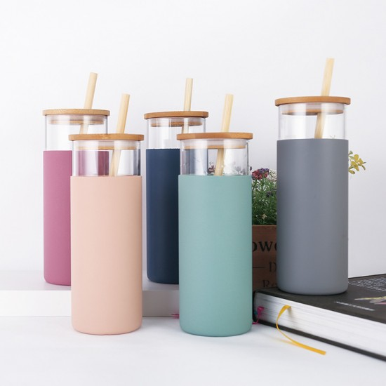 Bamboo lid silicone sleeve glass bottle