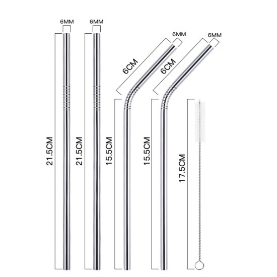 Set 4pcs Stainless Steel Straws i.save