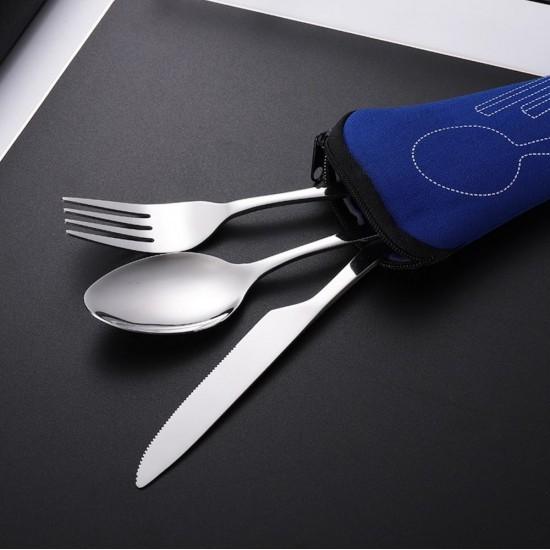 Portable tableware stainless steel tableware three-piece set Blue tarpaulin pouch